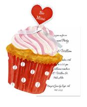 Product Image For Heart Cupcake Die Cut invitation