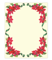 Product Image For Poinsettia & Ribbons Paper