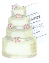 Product Image For Cake with Pink Flowers Die Cut invitation