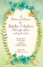 Product Image For Blue Floral Cream invitation