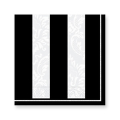 Product Image For Damask Stripes- Black Embossed Luncheon napkin