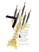 Product Image For Spooky Candelabra Die Cut invitation with black ribbon