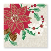 Product Image For Poinsettia Blooms Luncheon Napkin