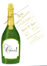 Product Image For Champagne Bottle With Gold Cord Die-Cut invitation