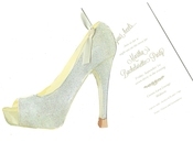 Product Image For Glam Shoe with Antique white ribbon  Die-Cut invitation