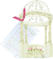 Product Image For Gazebo W Hot pink ribbon Die-cut invitation