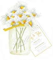 Product Image For Jar of Daises with Yellow ribbon Die-cut invitation
