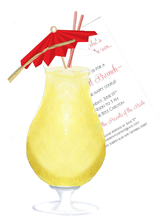 Product Image For Pina Colada wi/ Natural ribbon Die-cut invitation