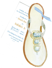Product Image For Beaded Sandal w/ Blue Ribbon invitation
