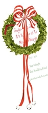 Product Image For Wreath with Bells Die cut invitation