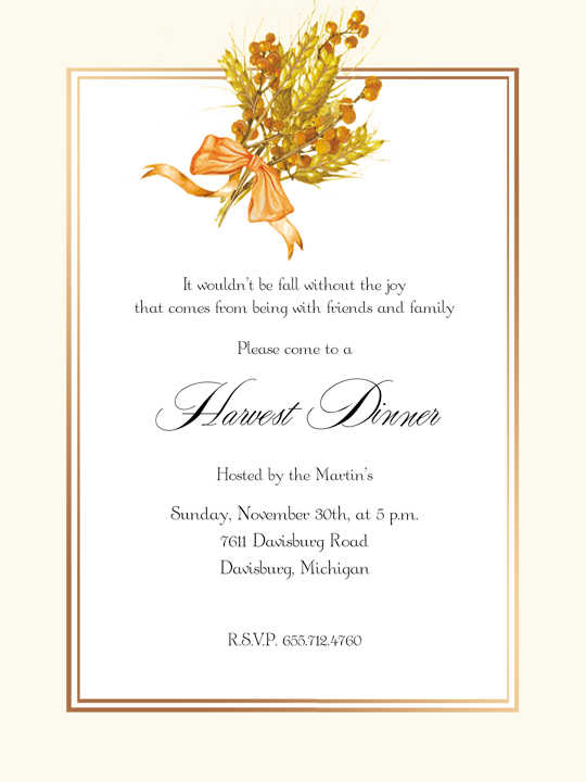 Thanksgiving Invitations – Inauguration Invitation Card Sample