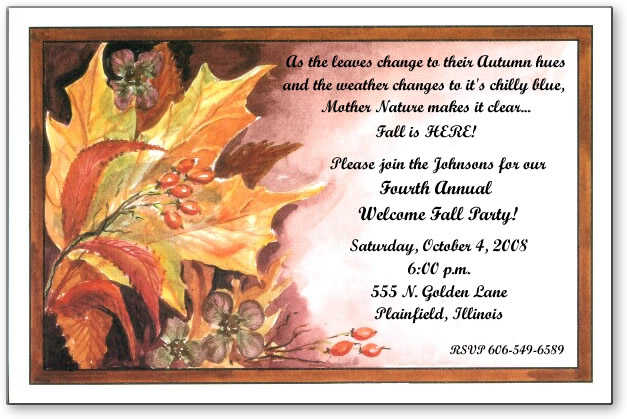 Fall Wedding Invitation Wording: Autumn Invitations For Special Events