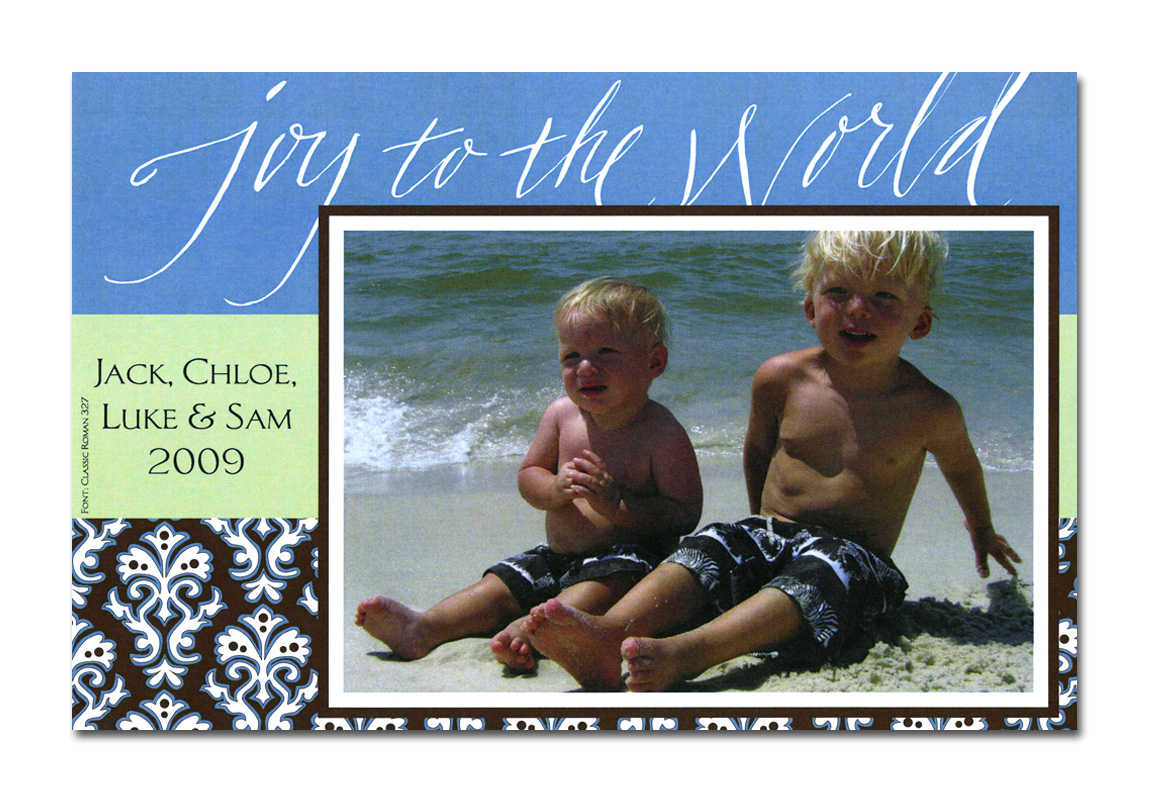 Custom christmas cards personalized invitations and greeting cards this holiday design has a black and white damask border with a blue and green stripe it says joy to the world across the top kristyandbryce Images