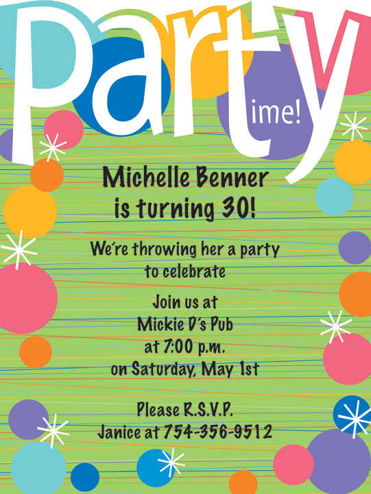 Birthday invitation wording ideas a fun and colorful invitation with a die cut top that says party time it has colorful bubbles all along the border with stripes across the background stopboris