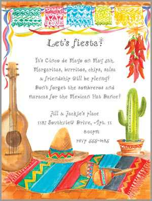 Fiesta invitations even if you are not a spanish speaker you can still have an invitation filled with latin flavor and fun here are a few spanish words that anyone can stopboris Images
