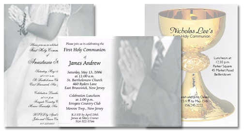 Sample Wording for First Communion Invitations: