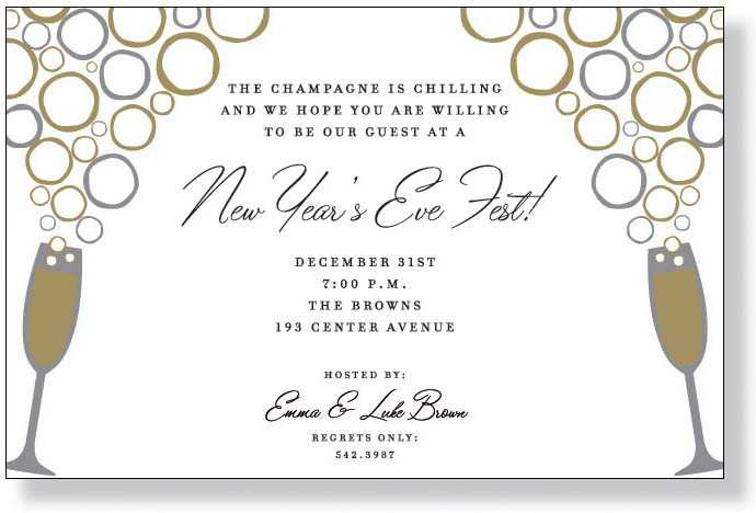 a silver and gold invitation showing two champagne glasses that literally have bubbles floating up into the air a perfect selection for a new years eve