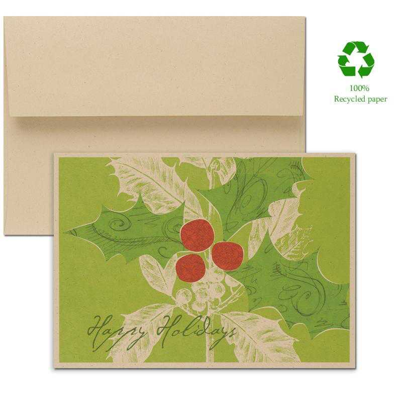Corporate holiday greeting cards corporate greeting cards for the an eco friendly greeting card made from 100 recycled paper this card has a sprig of holly with red berries against a green background m4hsunfo
