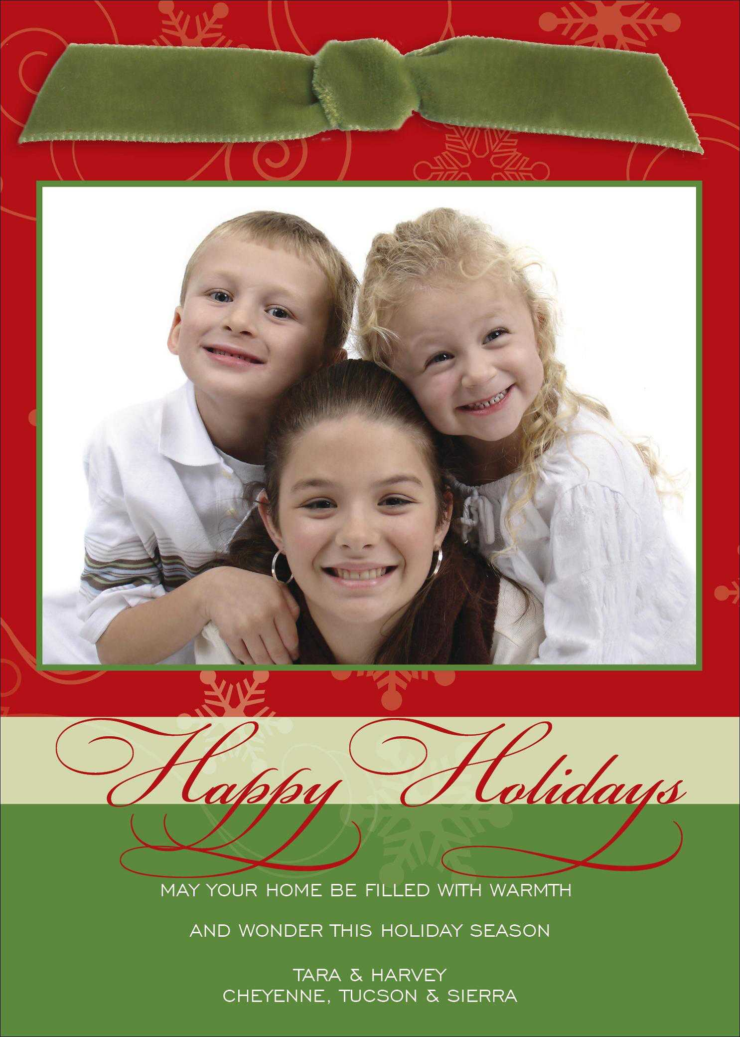 Christmas holiday photo cards christmas holiday photo cards for featuring a moss velvet ribbon bow at the top and a large photo of your family this card is accentuated in colors of light blue green and light taupe with kristyandbryce Images