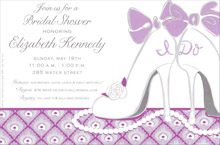 Bridal shower invitations bridal shower invitations featured products i do shoes invitation a beautiful lavender and pale gray background accent a pair of white high heels and filmwisefo