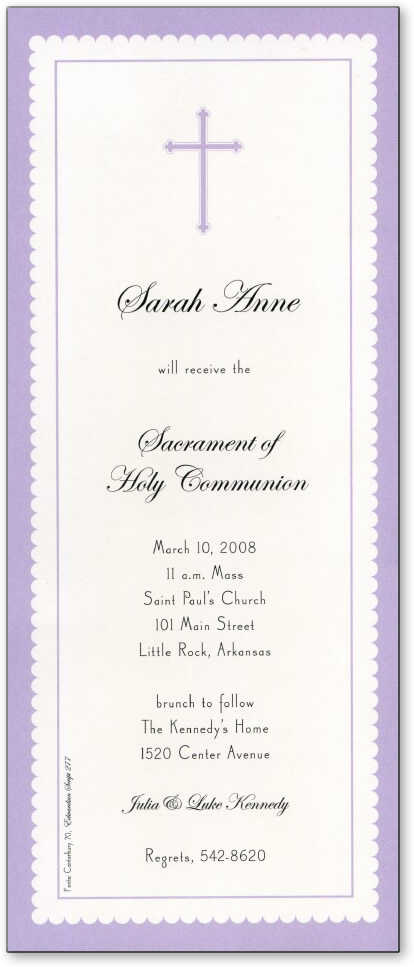 1st communion invitations 1st communion cards invitation wordings a matching lavendar cross is printed at the top to make it ideal for a baptism or 1st communion invitation stopboris Choice Image
