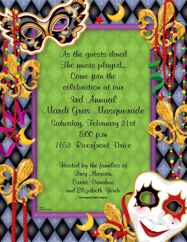adcc5993715f Mardi Gras Party Themes   Themed Invitations