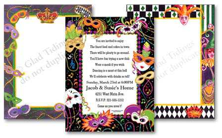 mardi gras paper, stationary & crowns, Birthday invitations