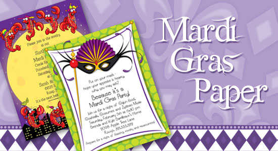 Get Ready For A Mardi Gras Celebration With Specially Designed Stationery Paper From Impress In Print We Carry Hundreds Of Mardi Gras Designs To Complement