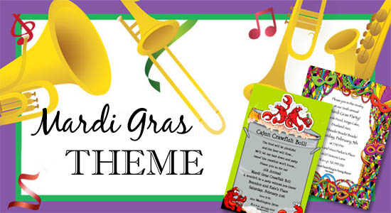 mardi gras party themes themed invitations