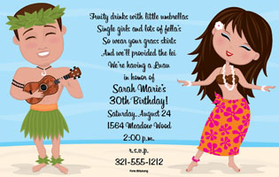 A Couples Luau This Tropical Invitation Is Decorated With Man And Woman In Garb Playing Ukalele Hula Dancing Its The Perfect Choice For