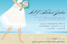 This lovely invitation features a barefoot bride with a lovely pink ...